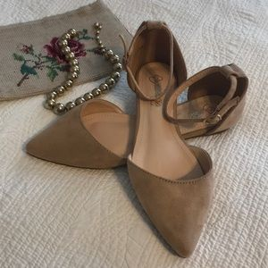 Nude faux suede flats with ankle straps NWOT